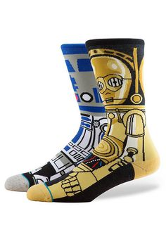 This pair of Star Wars Socks by Stance feature R2D2 on one sock and C3PO on the other. Large fits Men's Sizes 9-12.