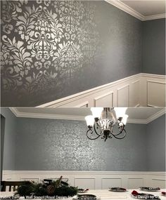 Stencils: Your easy and affordable solution to custom home decor. Dining Room Wallpaper, Dining Room Walls, Home Wallpaper, Dining Room Design, Wallpaper Ceiling Ideas, Living Room, Damask Wall Stencils, Stencil Painting On Walls, Tile Stencils