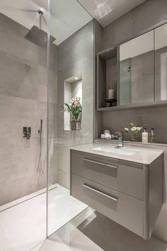 Eaton mews north—guest bathroom modern bathroom by roselind wilson design modern Loft Bathroom, Bathroom Layout, Small Bathroom, Bathroom Ideas, Light Grey Bathrooms, Remodel Bathroom, Budget Bathroom, White Bathroom, Bathroom Organization