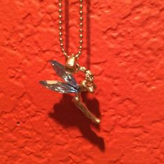 ✔️TINKERBELL//FAIRY NECKLACE (NWOT) Blue Rhinestone wings--Silver tone---claw clasp Jewelry Necklaces