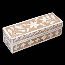 Jewellery boxes are one of the most important requirements for any home. Bone Fitting on the box is made in flower and leafs design. Made from wood, The box has been designed in a rectangular style.You can use it for keep your favourite ornaments etc.Note: This is Handcraft Item so each item will be different than other due to limitation of photography.
