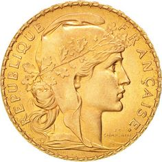 France 20 Francs Gold Coin 1913 Marianne and Rooster