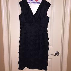 Little black dress V-neck pleated black cocktail dress London Times Dresses