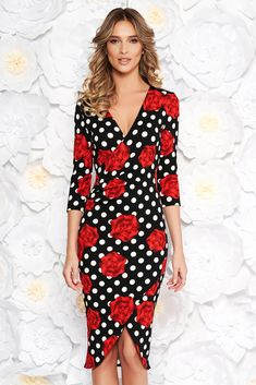 """StarShinerS office red wrap around dress slightly elastic fabric with v-neckline with tented cut, tented cut, 3/4 sleeves, deep cleavage, """"V"""" cleavage, wrap around, slightly elastic fabric"""