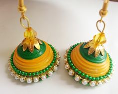 Wedding jhumka - green & yellow  https://www.facebook.com/Arhamscreations
