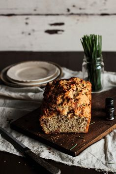 Bacon & Chive Beer Bread by pastryaffair
