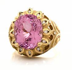 JEFFREY RIEDEL Pink Kunzite Diamond 14K Gold Ring - Dover Jewelry