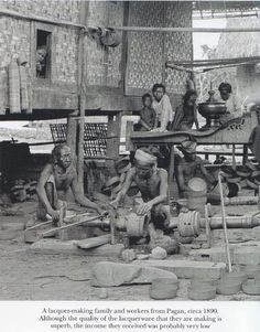 Lacquerware making family in Burma