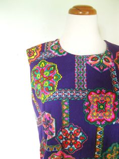 Vintage 60s Psychedelic dress / purple by TheBlueSkyBoutique