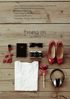 Olympus pen style book, PEN E-P5, Christian Louboutin shoes, Ray-Ban Wayfarer, Chanel nail vernis, white t-shirt, red heart chocolate, essentials for women