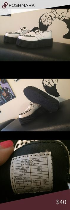 T.U.K. Shoes Mondo wht leather  brothel creeper Classic black and white round toe brothel creeper with a 3cm tall super strong Mondo all rubber sole unit. T.U.K. Shoes Platforms