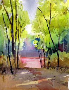 "Had a great plien(chk spelling) air watercolor workshop recently at ""Panhala"". Watercolor Trees, Watercolor Landscape, Watercolor And Ink, Landscape Art, Landscape Paintings, Watercolour Painting, Watercolours, Beautiful Paintings, Cool Drawings"