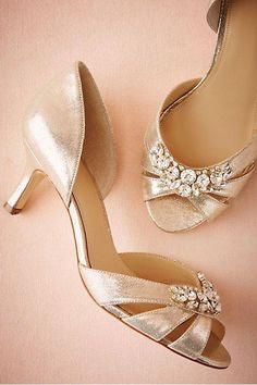 374b751619c0 A kitten heel and ornamental setting make these d Orsay heels perfectly  sweet and sophisticated.    Gold Martina d Orsay by Hitherto. Serenity Wedding  Shoes