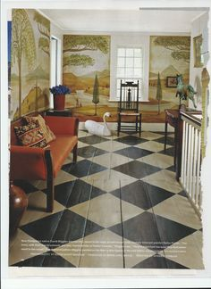 LOVE that floor! Everything else in this room is meh...well maybe I'd keep the swan and horse...