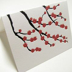 Cherry blossom letterpress stationery from Digby & Rose
