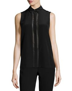 Vince Sleeveless Concealed-Button Blouse, Black New offer @@@ Price :$245 Price Sale $161