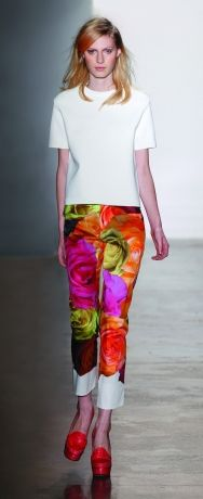 Bold flowers on pants? Keep it cropped and slim fit and pair with a simple top. Peter Som Spring 2012