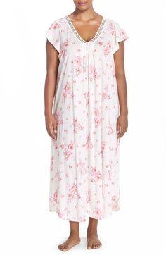 Carole Hochman Designs Floral Cotton Long Nightgown (Plus Size)