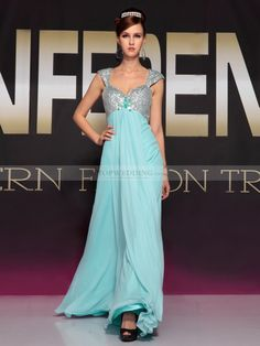 Blue Cap Sleeve Prom Dress - Colorful Dress Images of Archive