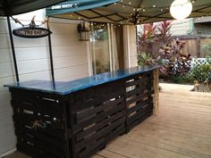 Building a Tiki Bar…Out of Wood Palletspallet bar & decoupage countertop