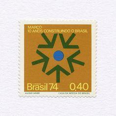 10 Years of the Revolution (0.40). Brazil, 1974. Design: Aluísio Carvão. #mnh #graphilately