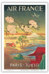 Paris Tokyo Air France Vintage Airline Travel Poster Canvas Print / Canvas Art by Retro Graphics Air France, Retro Poster, Poster Ads, Poster Prints, Vintage Travel Posters, Vintage Postcards, Vintage French Posters, Poster Vintage, French Vintage
