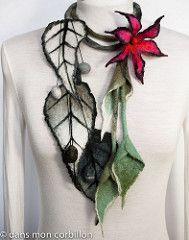 Delicate and lovely Nuno felt Felt Necklace, Fabric Necklace, Textile Jewelry, Fabric Jewelry, Nuno Felting, Needle Felting, Body Adornment, Silk Art, Felting Tutorials