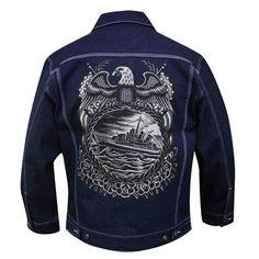 Battleship by Britton McFetridge Men's Dark Denim Blue Jean Jacket Outerwear