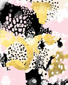 Simone - abstract painting gold foil trendy hipster pastel pink modern trendy colors decor college Art Print by Charlotte Winter