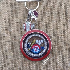 MLB FAN LOCKET WITH CRYSTAL RING PLATE, CHARMS ENCLOSED, SPARKLING BASEBALL DANGLE CLIPPED TO A CHAIN AND YOU ARE READY TO ROOT, ROOT, ROOT FOR THE HOME TEAM! http://wwwJudyRichardson.origamiowl.com