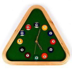 Billiards Wall Clock Pool Rack Timepiece Quartz Wood Frame Game Room Unique
