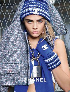 Ad Campaign: Chanel Fall/Winter 2014-2015 Model: Cara Delevingne, Binx Walton Photographer: Karl Lagerfeld