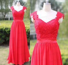 Long Prom Dress,Custom Made Pleat Chiffon Bridesmaid Dress,Red Prom Dress/Evening Dress,Cap Sleeve Red Party Dress    Rush order link :