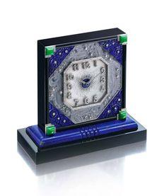 Rare onyx, lapis lazuli, jadeite and diamond Art Deco clock by LaCloche , Frères, Paris, circa 1920
