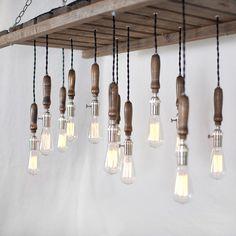 Wood Pallet Chandelier - 12 Bulb. $2,800.00, via Etsy.