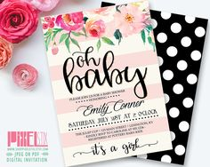 Oh Baby Floral Baby Shower Invitation, Cottage Chic Invite, Baby Sprinkle Invitation, Gold Glitter, Blush and Cream Stripes, Polka Dots by shopPIXELSTIX on Etsy