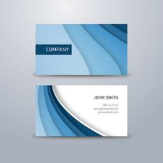 Corporate business card with blue waves