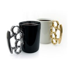 BRASS KNUCKLE MUG! - Large porcelain mug's with blinging metallic knuckle duster shaped handles will ensure nobody messes with your tea or coffee. $18.00