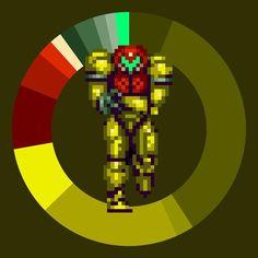 Samus . Super Metroid . Nintendo . 1994 . #game #colorwheel #color #palette #colorscheme #pixelart #metroid #nintendo #snes #platformer #retrogames #gamedesign #digitaldesign #graphicdesign #webdesign