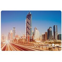 Urban Pet Mats for Food and Water by Lunarable, Modern Subway Line in Dubai Tracks Skyscrapers Futuristic View Commercial, Rectangle Non-Slip Rubber Mat for Dogs and Cats, Light Brown Blue White >>> For more information, visit image link. (This is an affiliate link) #DogFeedingWateringSupplies