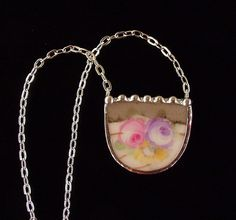 Broken china jewelry necklace antique by dishfunctionldesigns, $45.00