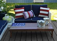 Create a festive cocktail table to host summer BBQs and parties. We love this DIY Stars and Stripes outdoor coffee table. Click through for Ana White's tutorial.