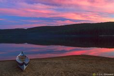 Canoe beached by North Lake Wapizagonke. La Mauricie National Park, Shawinigan, Quebec - (My family's hometown)