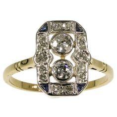 Art Deco Engagement Ring Diamonds by adinantiquejewellery on Etsy Colored Engagement Rings, Deco Engagement Ring, Diamond Engagement Rings, Art Deco Jewelry, Vintage Jewelry, Vintage Rings, Diy Jewelry, Fantasy Art Men, Popular Art