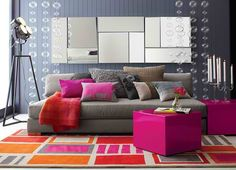 gray-living-room-with-fuchsia-accents.jpg (600×433)  LOVE this!!  Sleek, modern, big and bold!