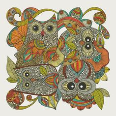 """""""4 Owls"""" by Valentina.  I remain in awe of Valentina's talent in creating beautiful images."""