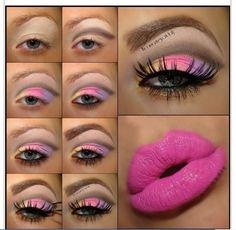 Easy And Simple Eye Makeup Tutorial Bright Eye Makeup, Pink Eye Makeup, Colorful Eye Makeup, Simple Eye Makeup, Makeup For Green Eyes, Colorful Eyeshadow, Make Up Tutorials, Eyeshadow Base, Eyeshadow Makeup