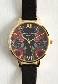 Yours, Mine, and Hours Watch in Black. When asked for the time, youre always thrilled to share, for you're always sporting this Enchanted Garden Mirror watch by Olivia Burton! #black #modcloth