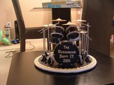 This is a cake topper I made for a grooms cake.  The groom plays drums in a band and the topper was made to duplicate his drum set.