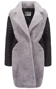 Комбинированное пальто-пуховик из овчины